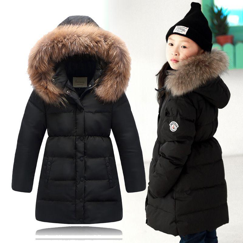 2016 Girls Winter Coat Chidren natural hair collar Long Jackets Kids Winter  Duck…