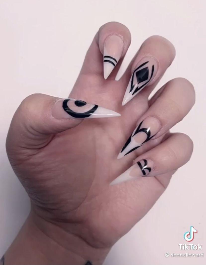Sukuna Nails Jujutsu Kaisen In 2021 Anime Nails Edgy Nails Goth Nails