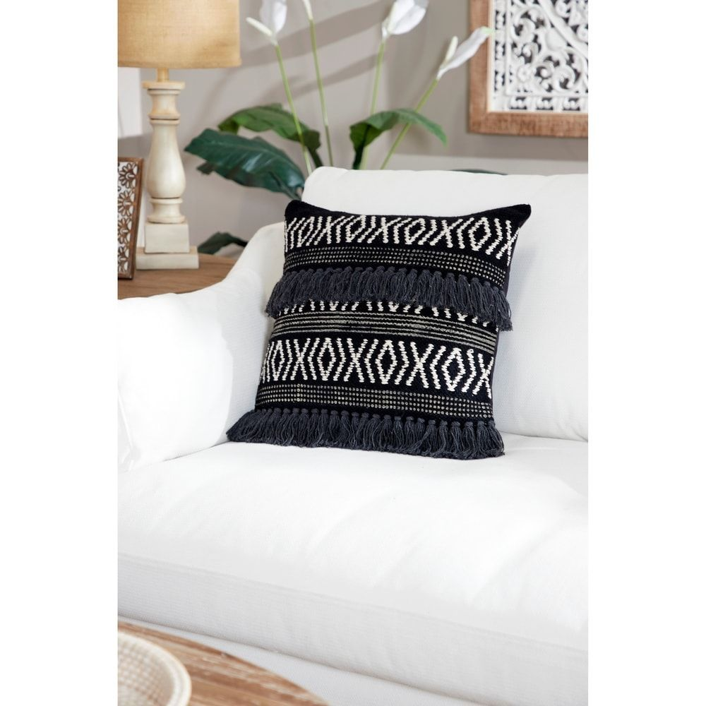 Online Shopping  Bedding Furniture Electronics Jewelry Clothing  more Decorative Throw Pillow w Boho Diamond Design  Yarn Tassels Medium  20 x 20 Black Studio 350Cotton...