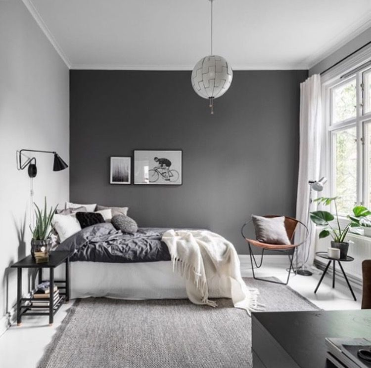 Teen S Bedroom With Feature Grey Wall And Monochrome Bed Linen: GET MORE POPPIN PINS @fatmaasad191