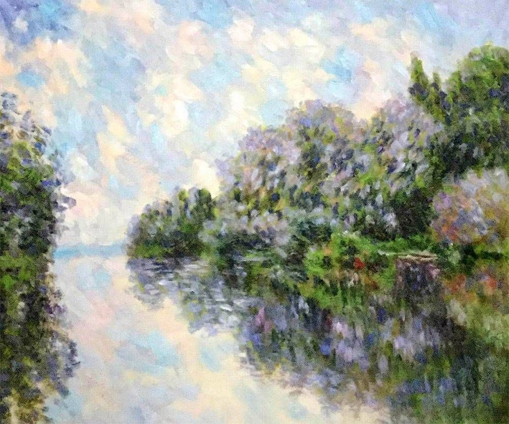 Claude the seine near giverny hand painted oil