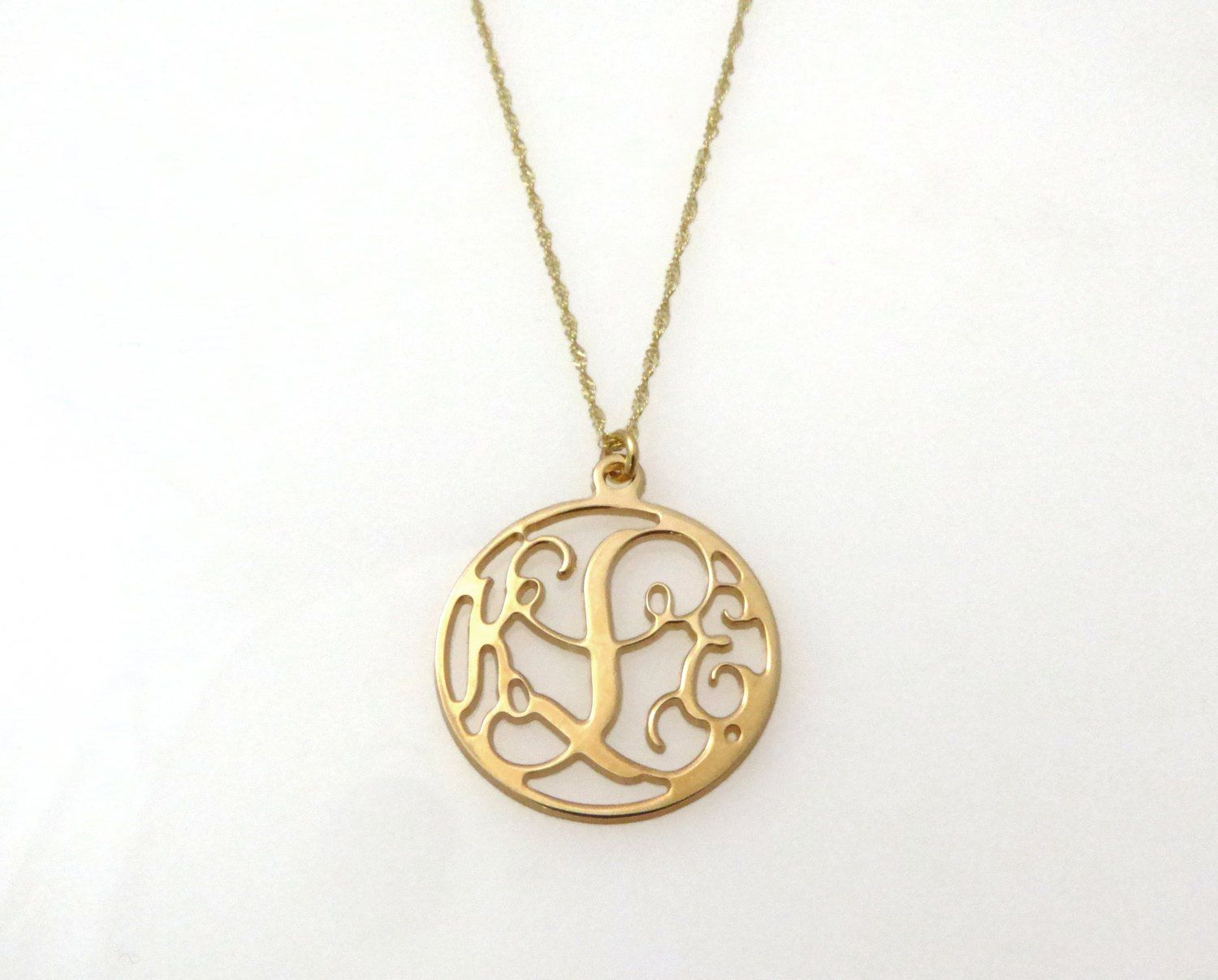 14k Gold Monogram Necklace Personalized Initial Necklace Personalized Pendent Gold Monogram Necklace Initial Jewelry Monogram Necklace Initial Jewelry Initial Necklace