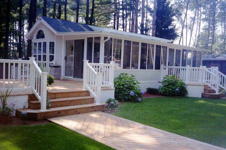 45 Great Manufactured Home Porch Designs | Single wide, Deck ...