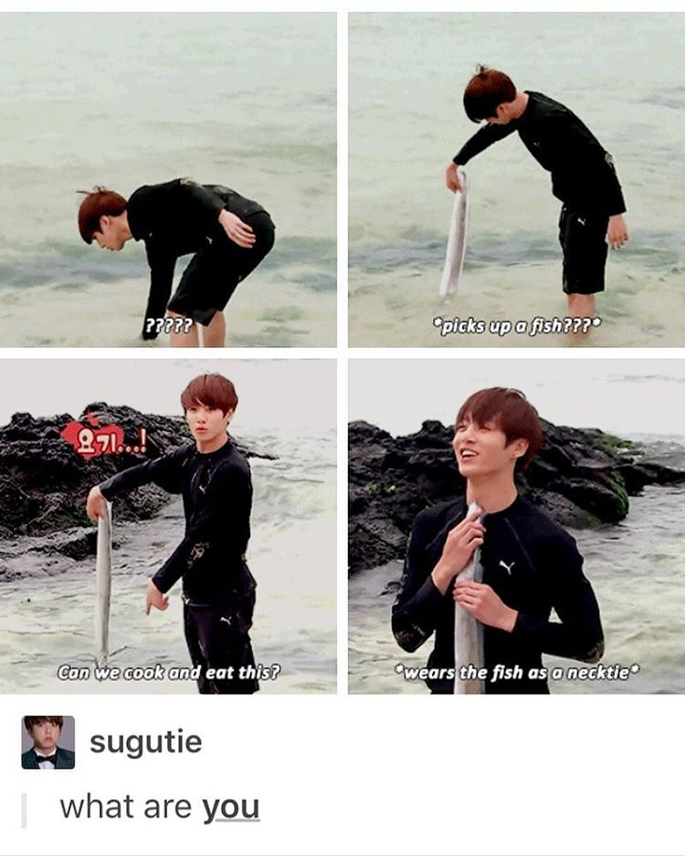 Jungkook what are you I wish I could just grab a fish out of the water just like that BTS