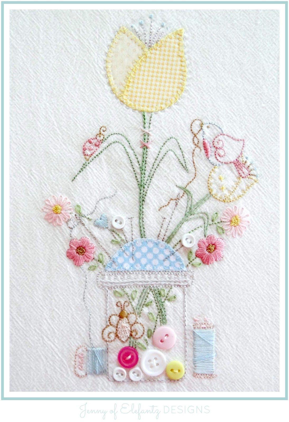 Stitchery Club January 2019 Embroidery flowers pattern