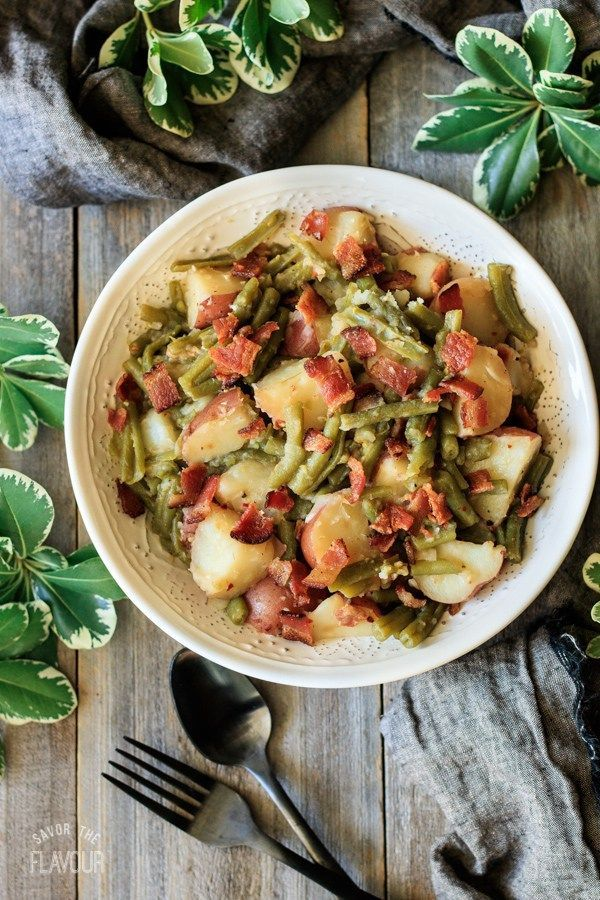 Southern Green Beans and Potatoes with Bacon   Savor the Flavour Southern Green Beans and Potatoes: