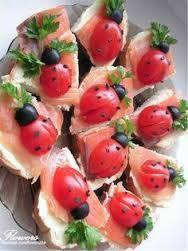 Cherry tomato and olive ladybugs
