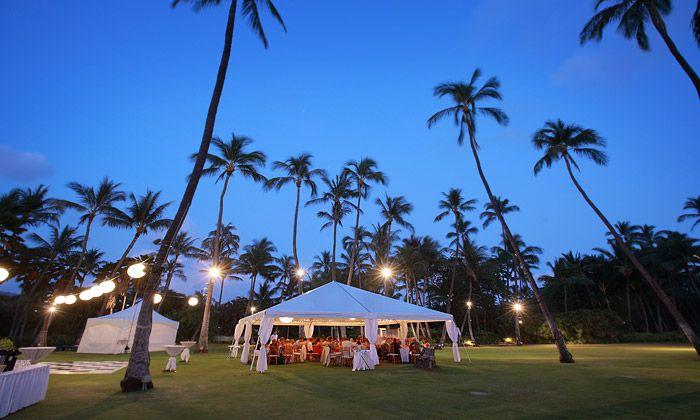Open Lawn And Tent Wedding Reception At Lanikuhonua Ko Olina Resort