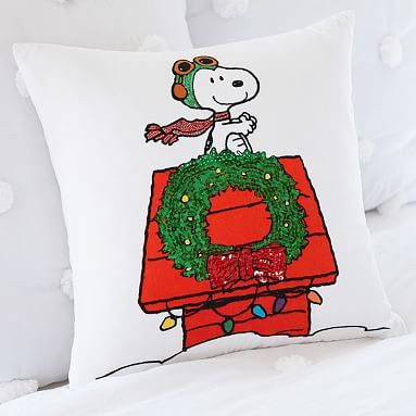 Peanuts 174 Red Baron Pillow Cover Snoopy Christmas