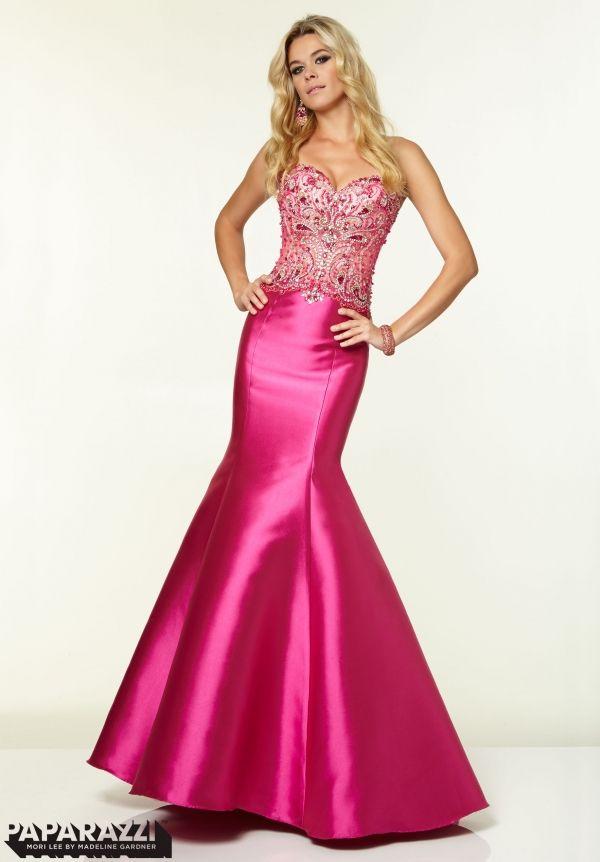 97006 Prom Dresses / Gowns Beaded Mesh on Larissa Satin fuchsia ...