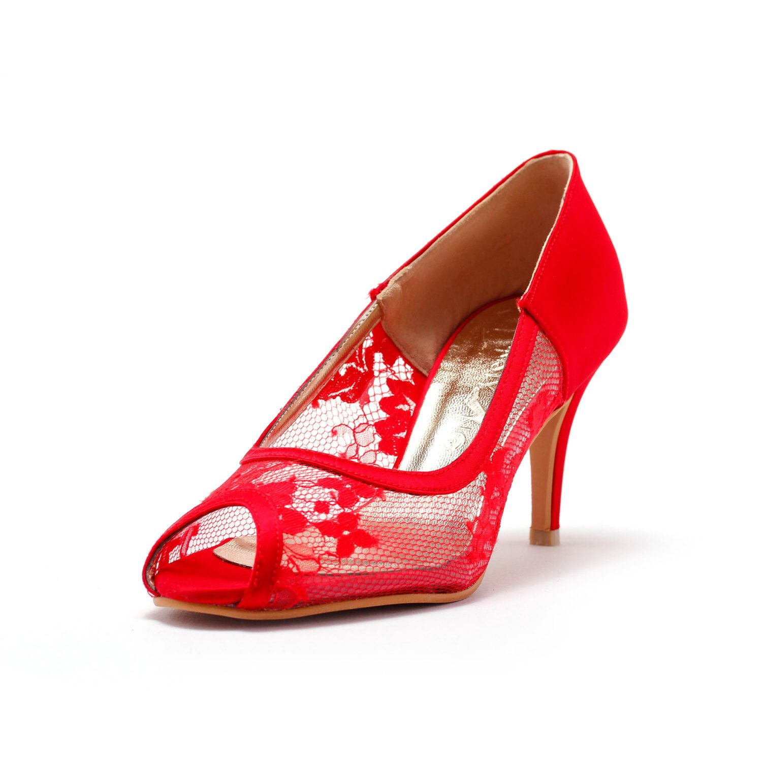 Red Lace Wedding Heel,Red Bridal lace