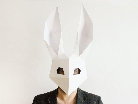 Rabbit Mask Bunny Mask Diy Printable Dj Mask Instant Pdf Etsy Halloween Diy Paper Bunny Mask Paper Mask Template