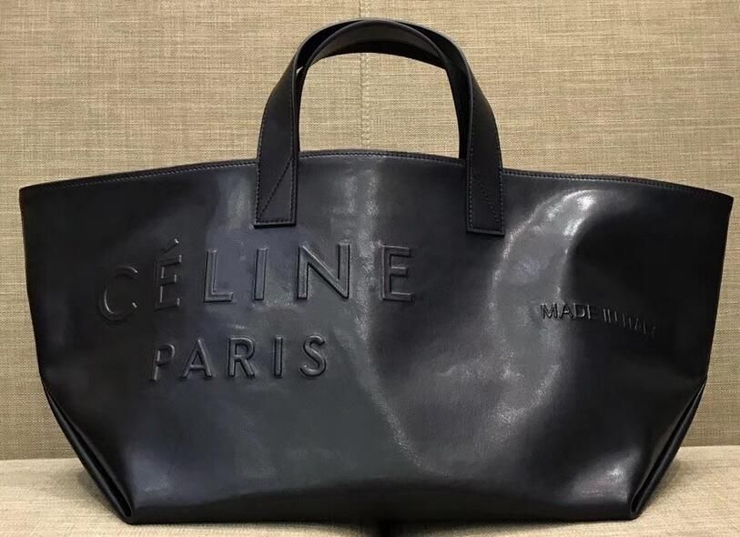 8fe3ec534281 Celine bags 2018 Celine Logo Made In Small Tote Bag in Black Leather ...