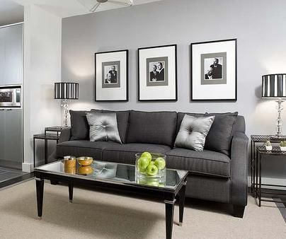 Light Grey Walls Dark Couch Bw Accents All Photos With Lg Mats But A Little Pop Of Color Somewhere Like Pillow