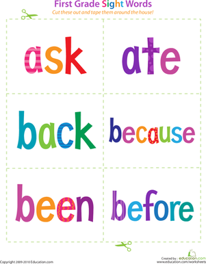 First Grade Sight Words: Ask to Before | Plain black, Reading and ...