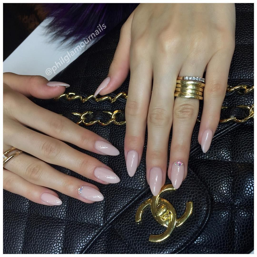Light Pink Almond Acrylic Nails Not Really Into The