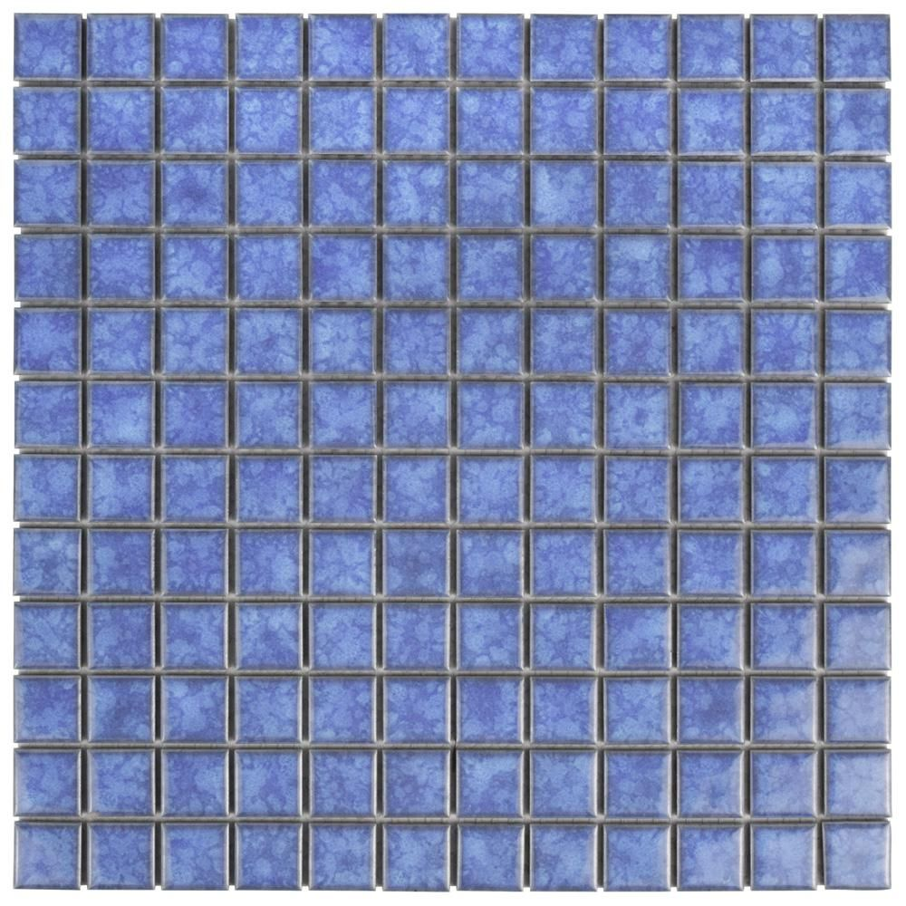 Merola Tile Lagoon Square Aral 11 3 4 In X 11 3 4 In X 6 Mm Porcelain Mosaic Tile Aral Blue High Sheen Mosaic Tiles Mosaic Ceramic Floor Tiles