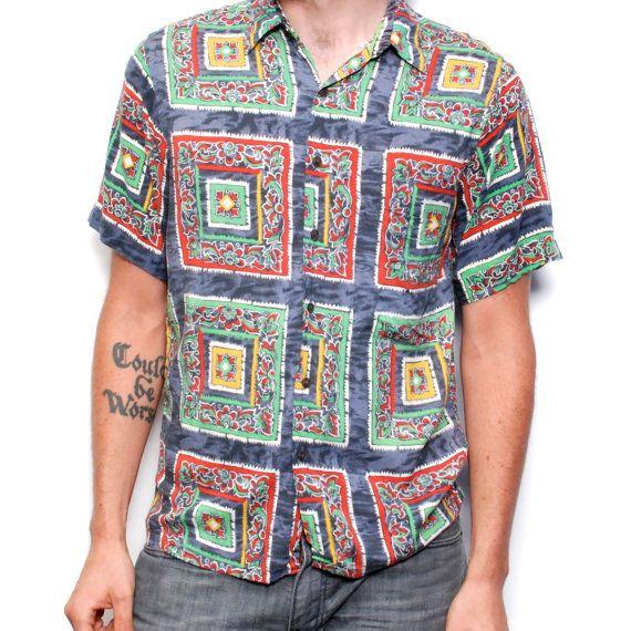 Striped shirt 80s pattern shirt worker shirt summer outfit 90s mens shirt short sleeve heritage shirt Size XL white gray