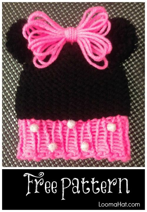Loom Knit Minnie Mouse Hat Easy Free Pattern Httploomahat