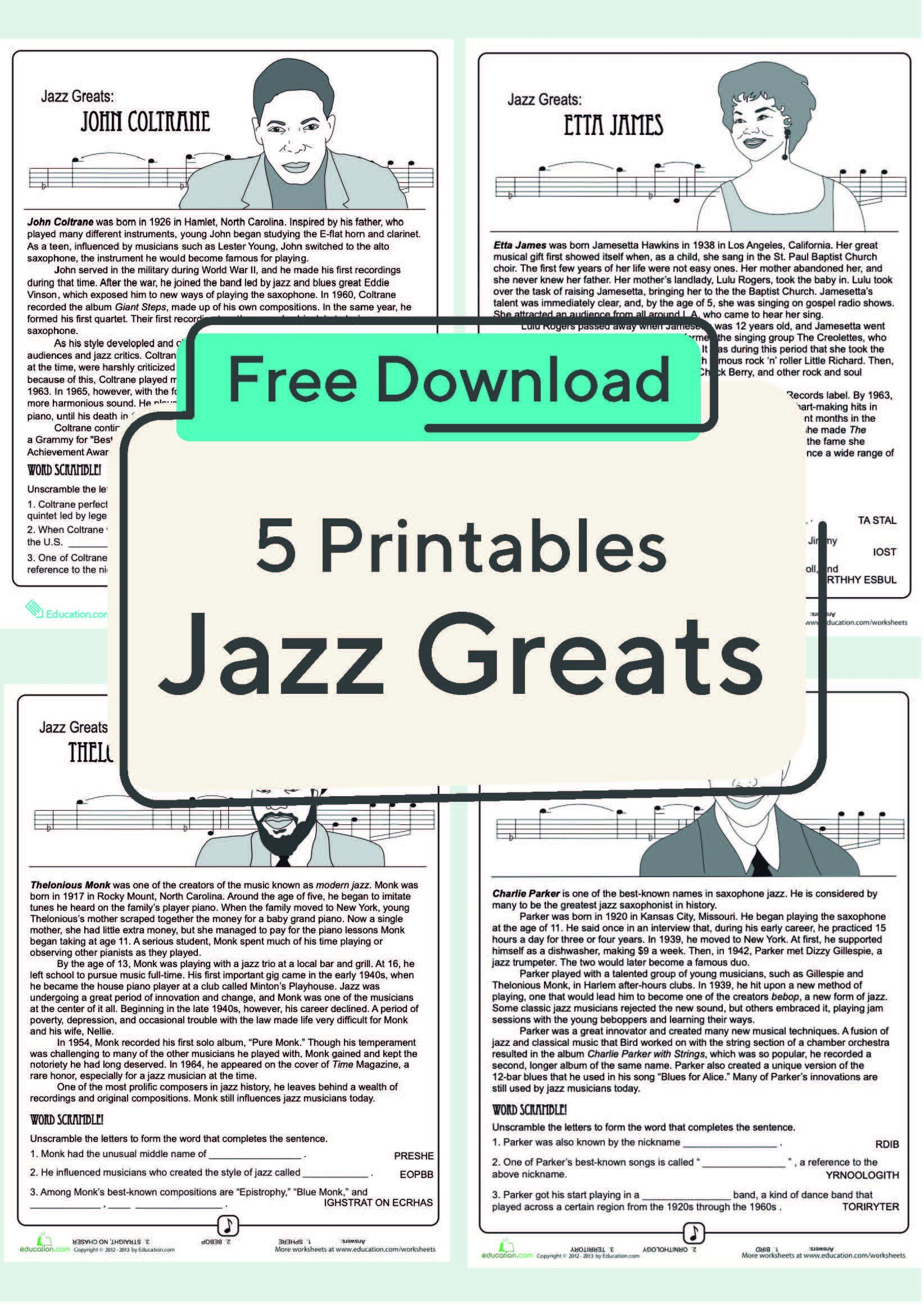 Teach Your Child About Famous Jazz Musicians With This