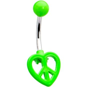 Green Neon Peace Sign Heart Belly Ring Green
