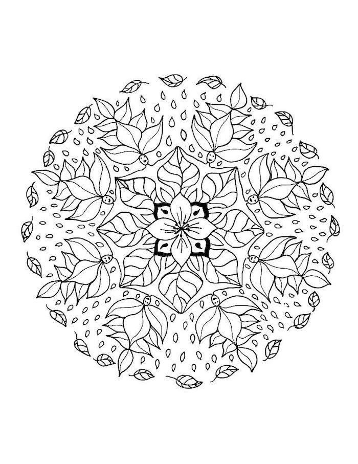 ein mandala kreis aus vielen kleinen weißen blättern und