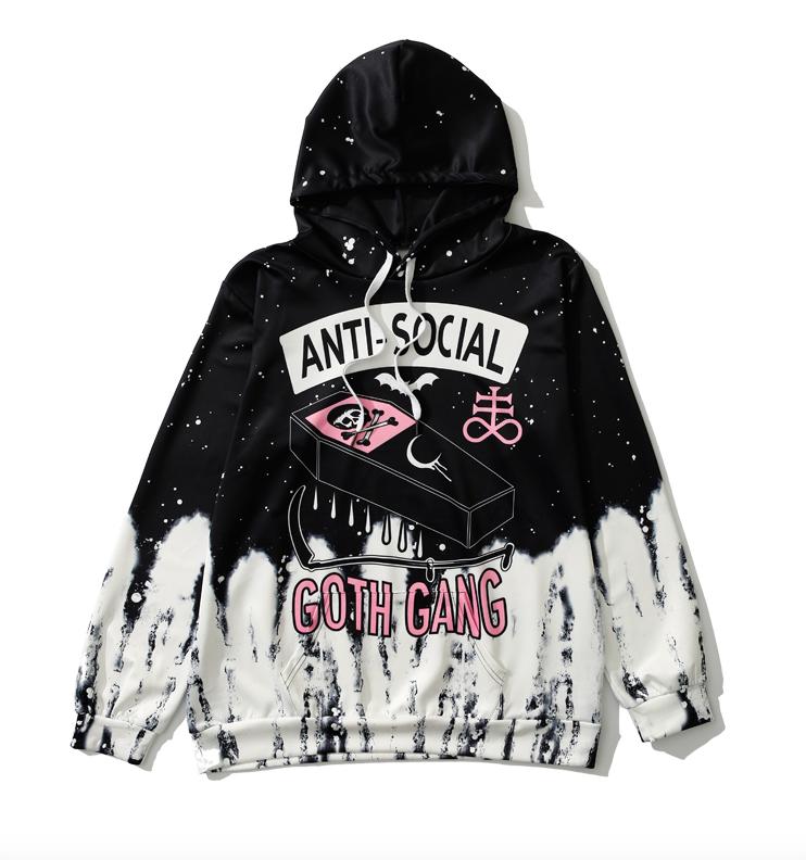 Pastel Goth Anti-social Skull Hoodie
