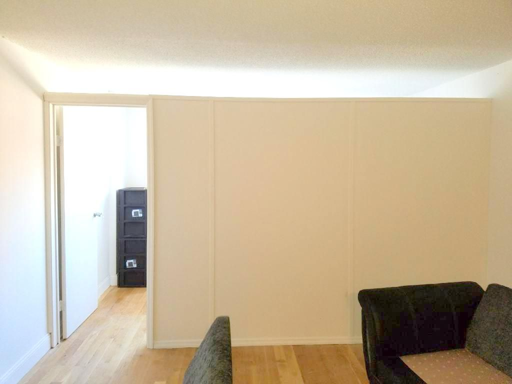 Temporary room divider with swing door. Call us for all your custom ...