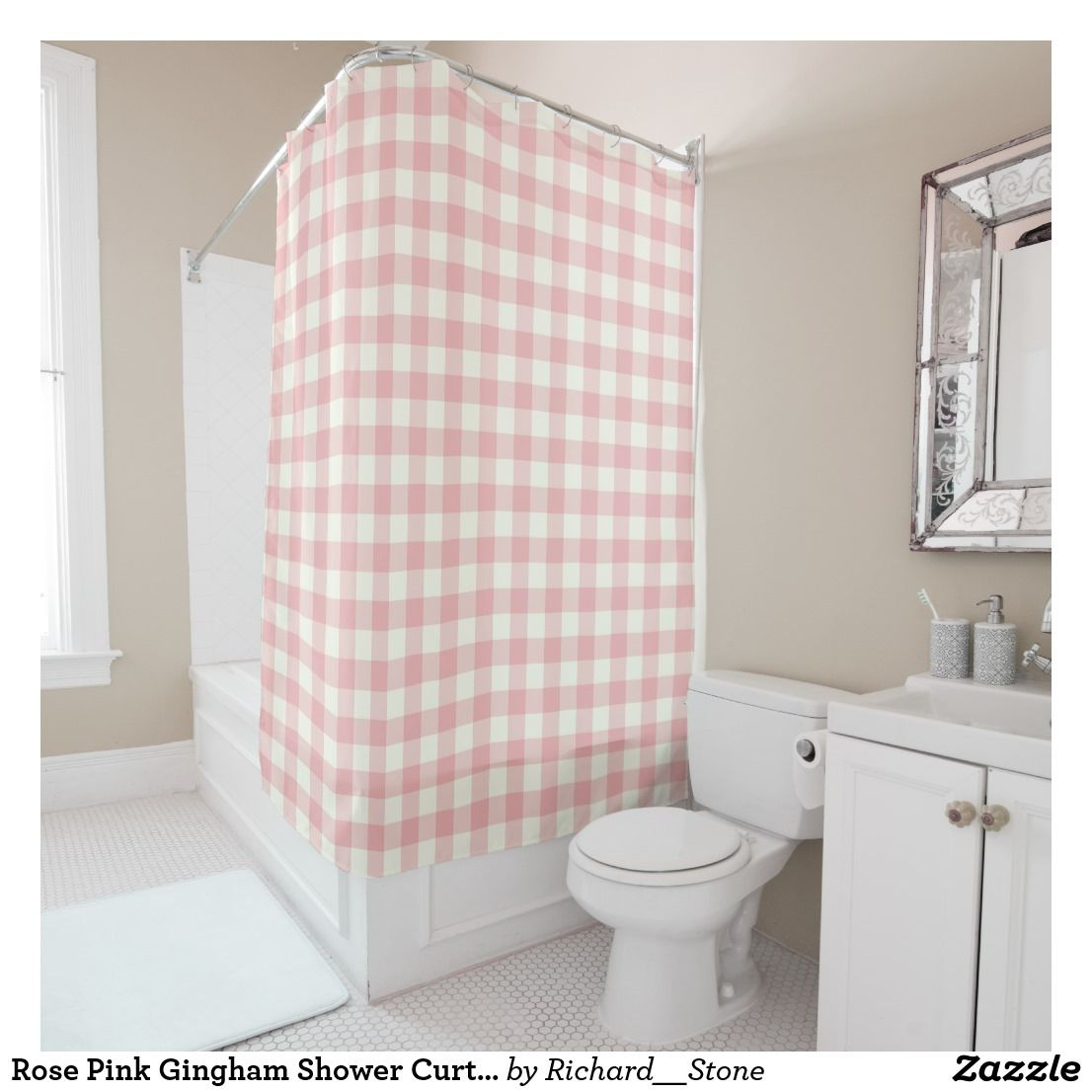 Rose Pink Gingham Shower Curtains Zazzle Com Blue Shower