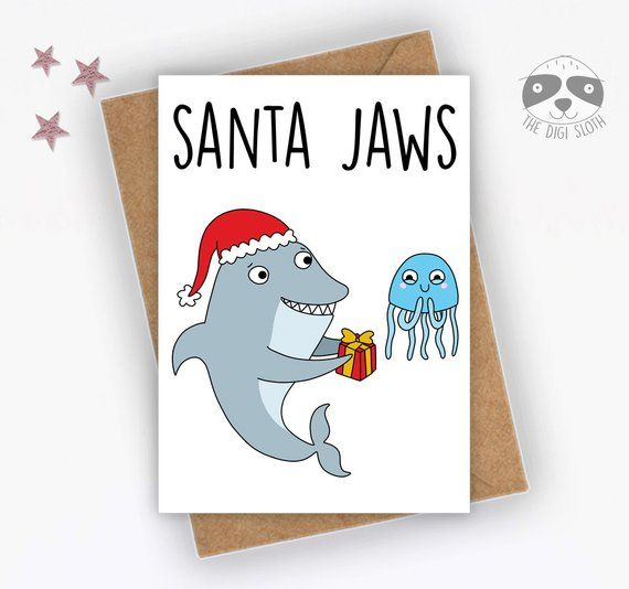 Funny Christmas Card, Santa Jaws, Shark Pun, Card For