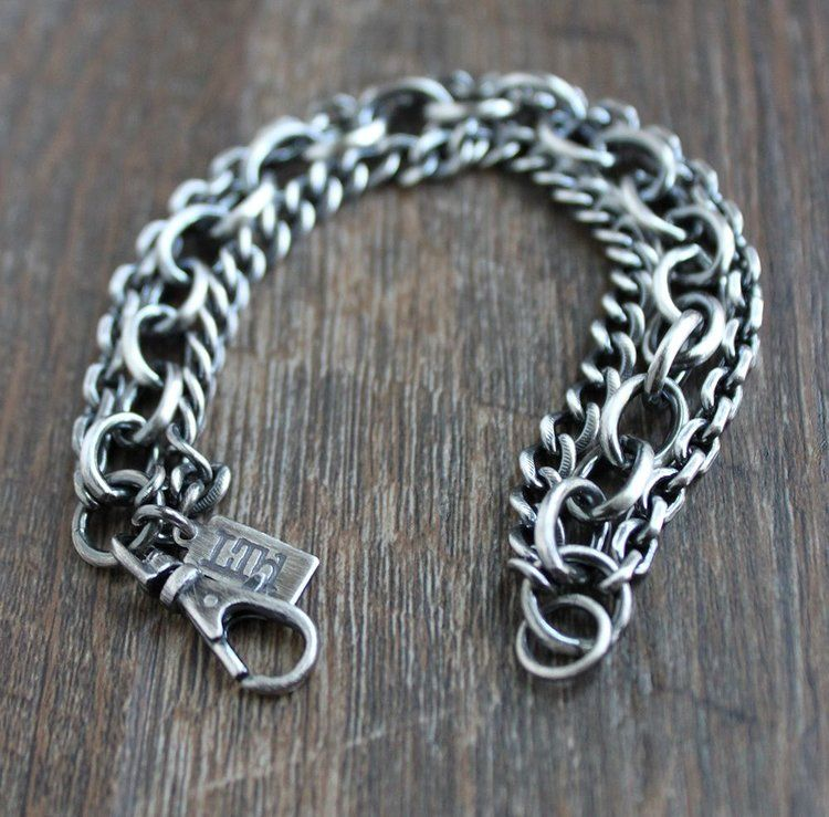 46a63562aa916 Men's heavy silver, triple chain bracelet | Accessories | Sterling ...
