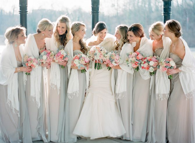 Neutral Blush And Beige Bridesmaid Wedding With Pashmina Shawls