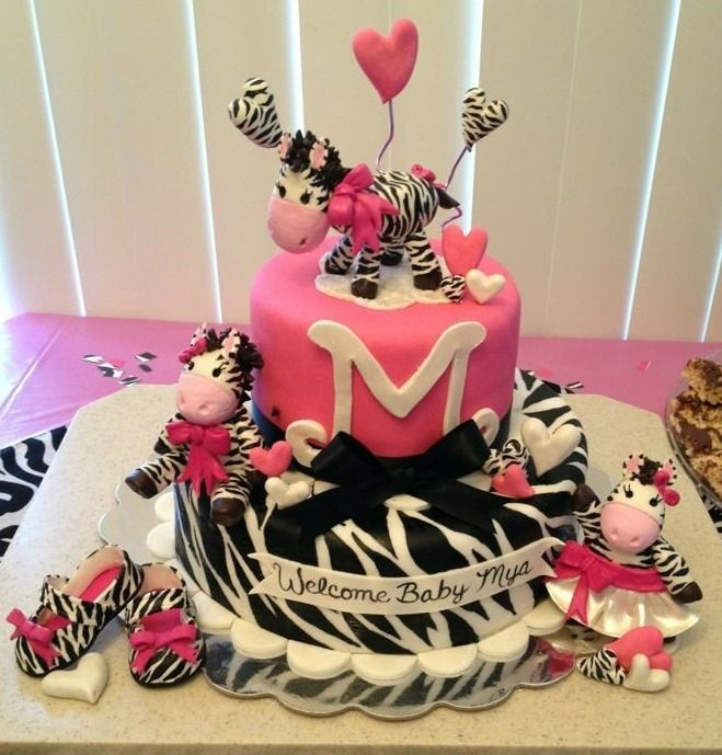 Zebra Baby Shower Cakes Girls cake The cake is hot pink and