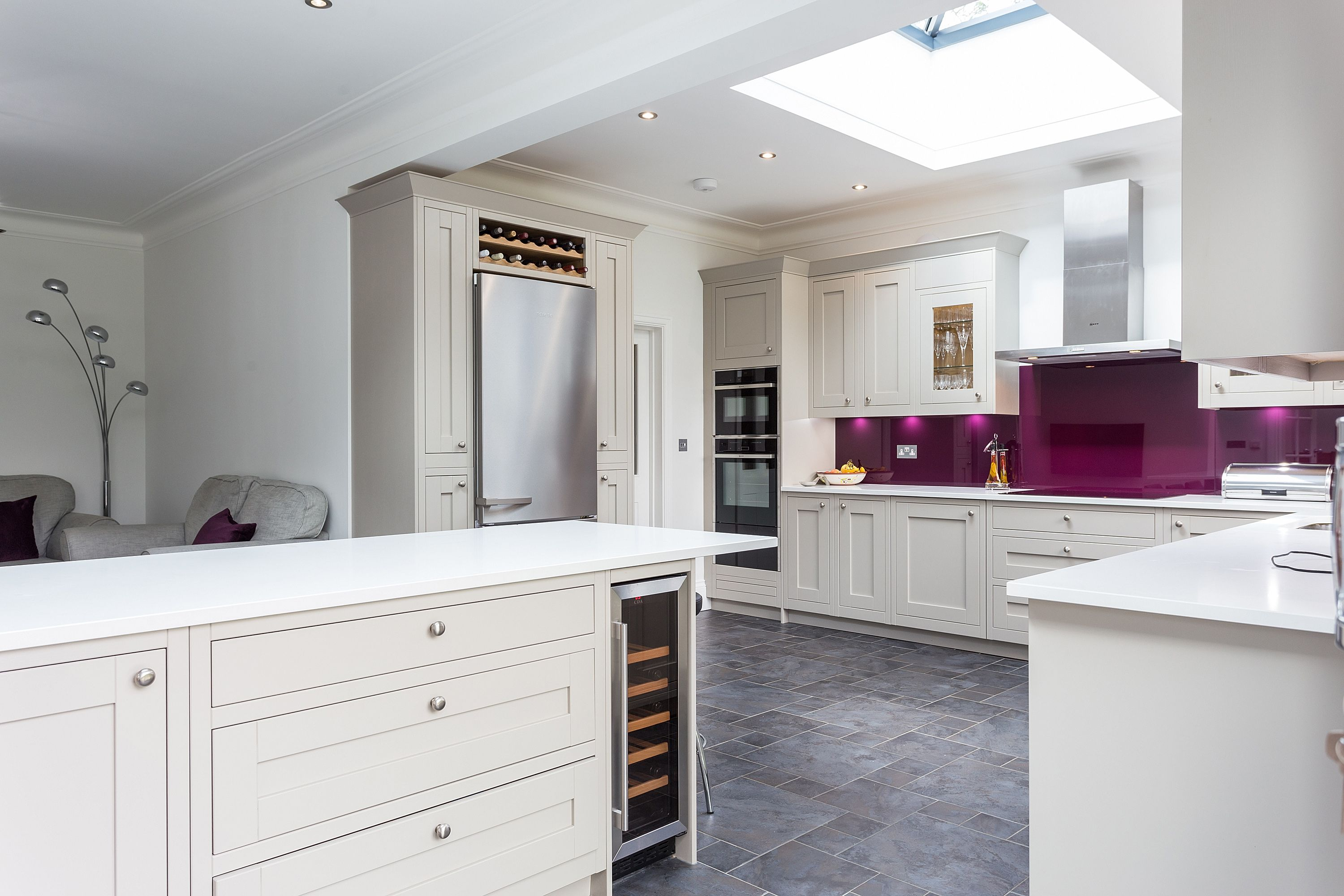 Second Nature Milton In Frame Kitchen in Stone with bold Aubergine ...