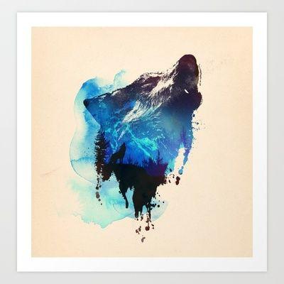 Alone as a wolf Art Print by Robert Farkas - $24.00