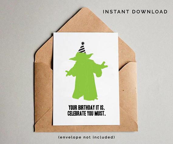 Yoda Birthday Card Star Wars Birthday Card Yoda Star Wars Card