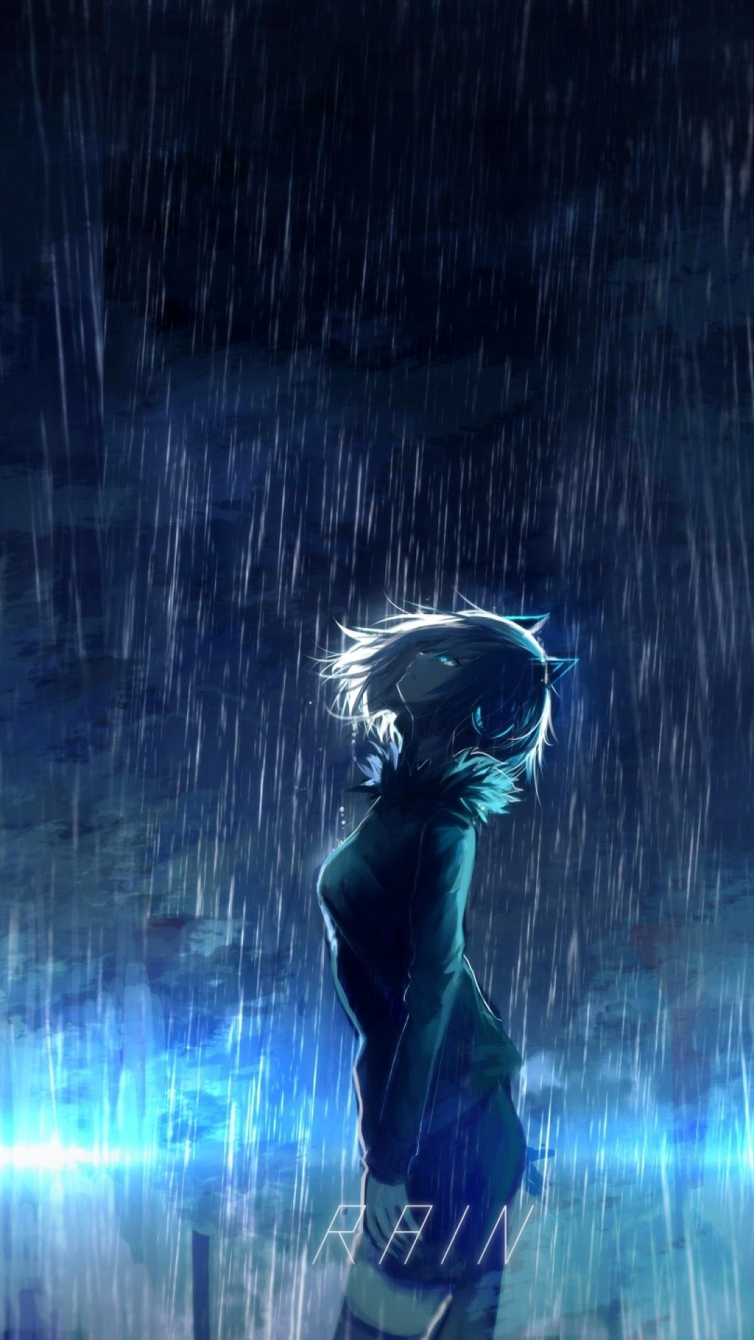 1080x1920 Anime Girl, Scenic, Raining, Animal Ears