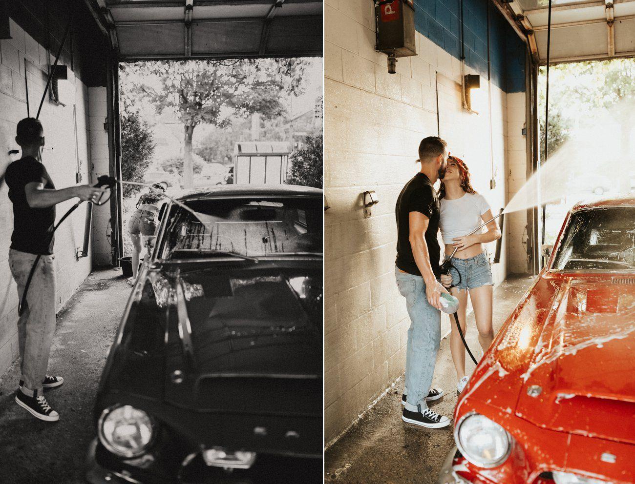 Adventurous Car Wash Session Hannah + Josh Bride