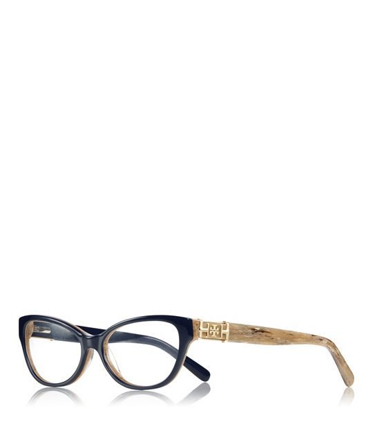 7c7360754dcd Tory Burch Classic Cat-Eye Glasses - 1333 NAVY. These glasses are so  fashionable! I have them on in my picture, navy with blonde side pieces.