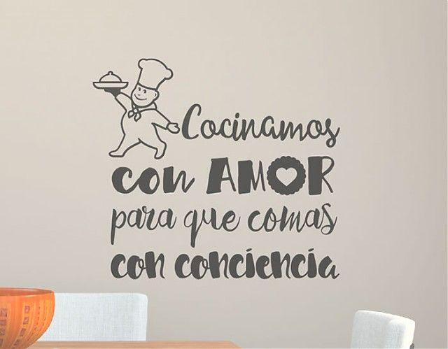 . Vinilos de texto para la decoración de restaurantes y bares Cocinamos con amor para que comas con conciencia 04389