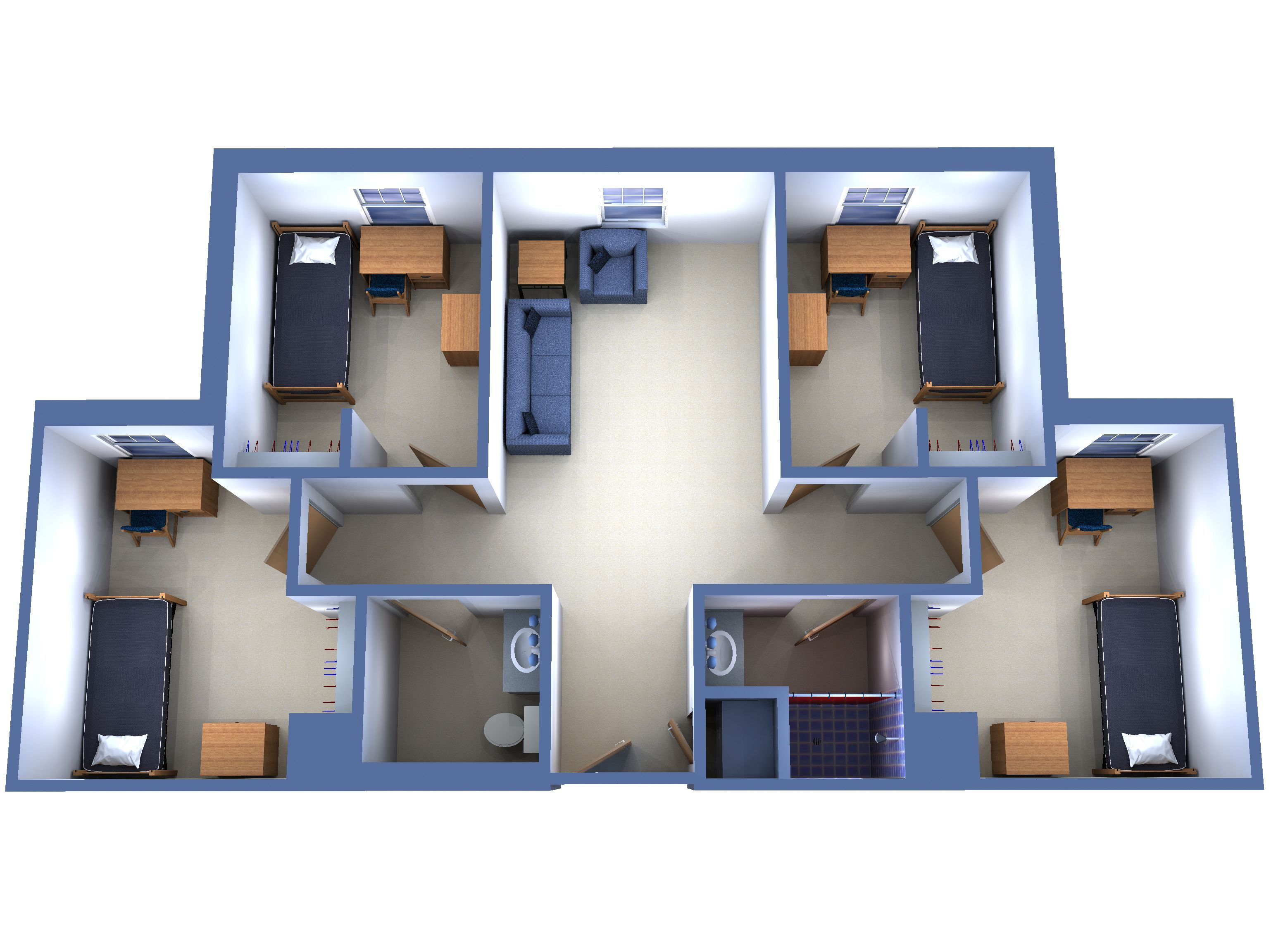 Suite 4 Single Rooms College In 2019 Dorm Room Designs