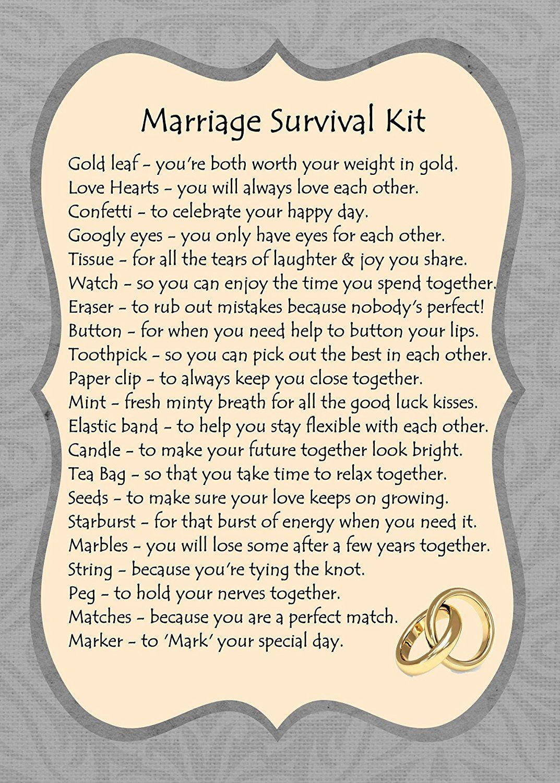 Marriage Survival Kit Gift Card Crafty Pinterest Survival Kit