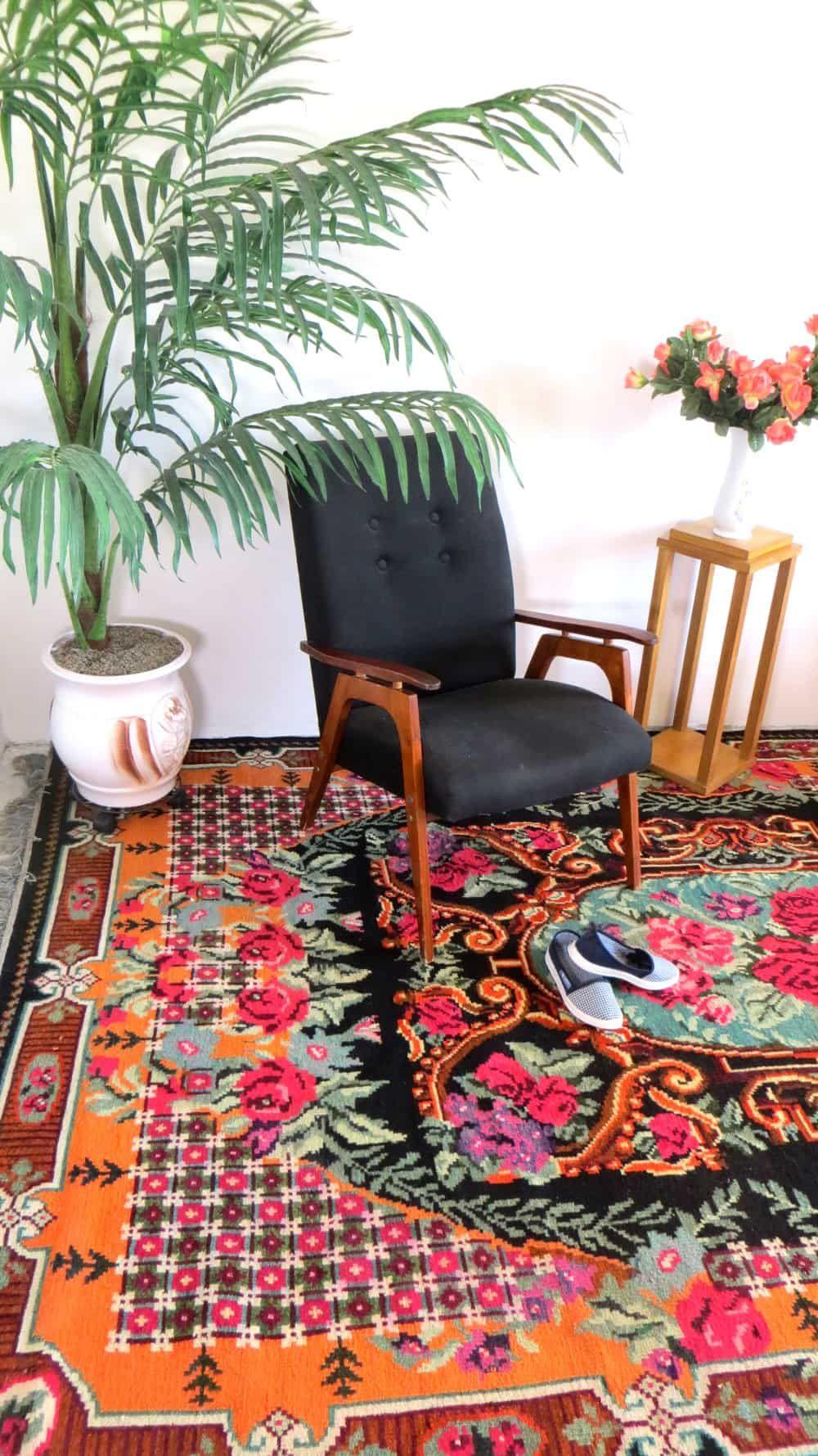 Rose kilim rugs floral rug tapis kilim ancien kilim with flowers wool rug persian rug bohemian - Alfombras de pasillo baratas ...