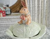 Ceramic Porcelain Lidded Bowl, Easter Decor, Cabbage Design with Bunny Figurine
