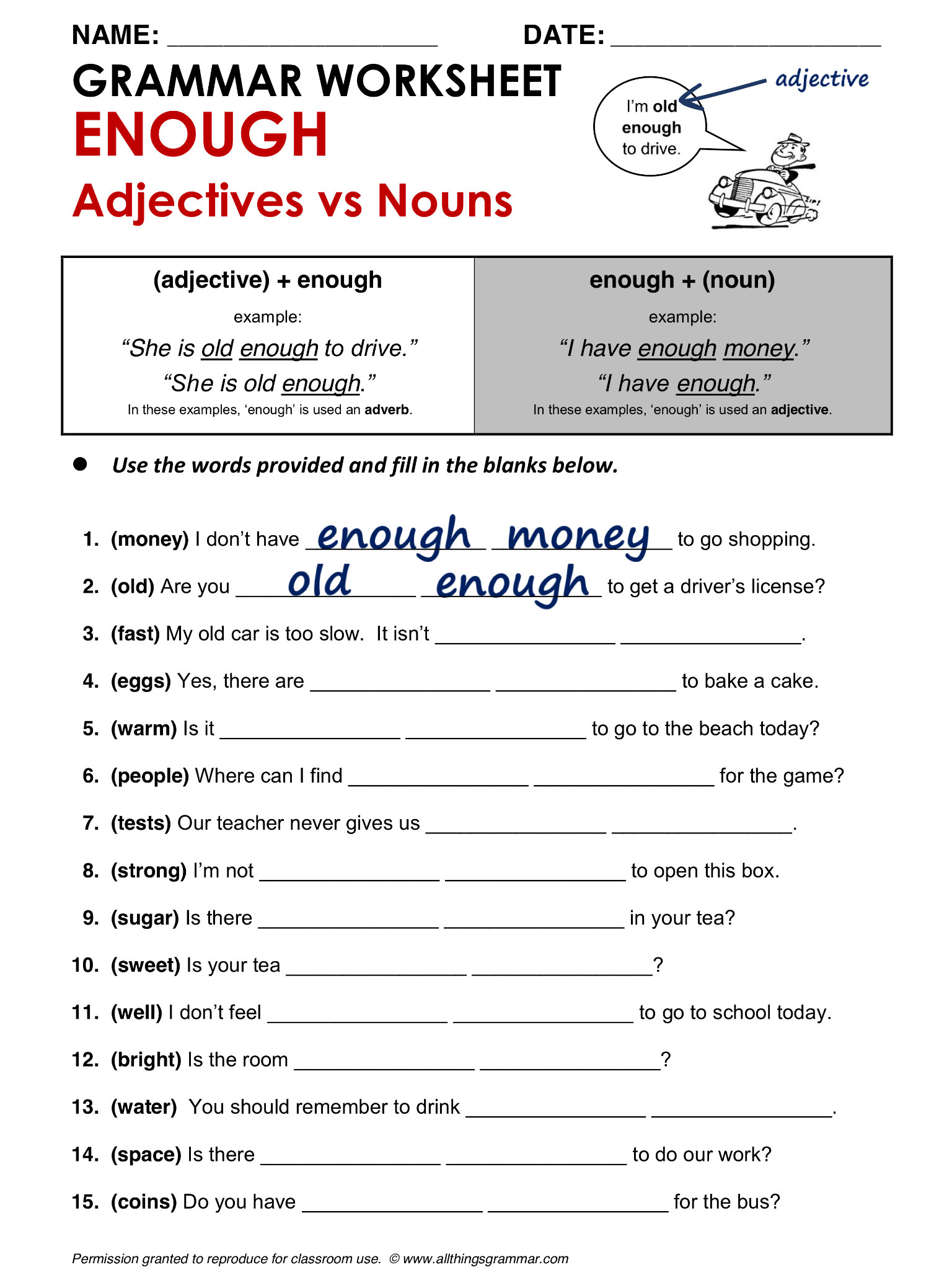 Worksheets Driver Education Worksheets english grammar enough adjectives vs nouns www allthingsgrammar quiz
