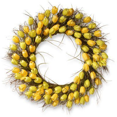 National Tree Company 32 in. Tulip Wreath Yellow - RAS-HY55732W-Y1