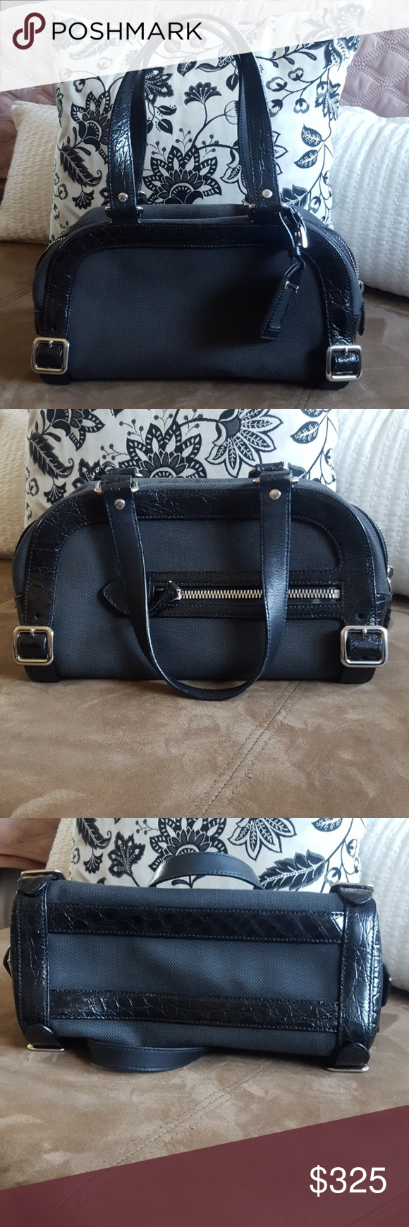 ae977b609188ec Auth Prada Canvas Alligator Charcoal Satchel Bag Prada charcoal canvas and alligator  bag in great pre-owned condition. Alligator leather trim with buckle ...