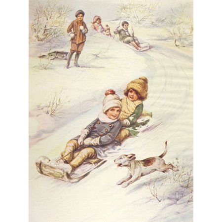 Little Frolic 1925 Sledging Canvas Art - Unknown (18 x 24)