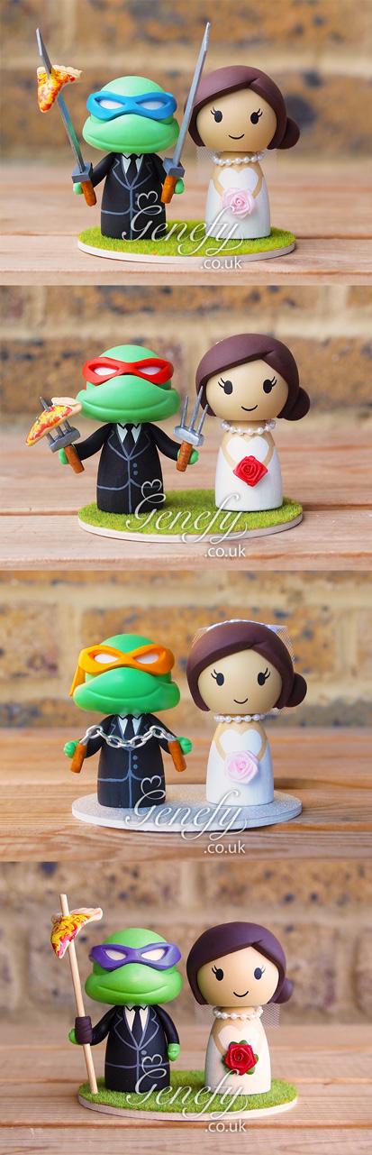 Cute Teenage Mutant Ninja Turtle Wedding Cake Toppers By Genefyplayground Https Www Facebook Com Diy Wedding Cake Topper Diy Wedding Cake Nerd Wedding Cake
