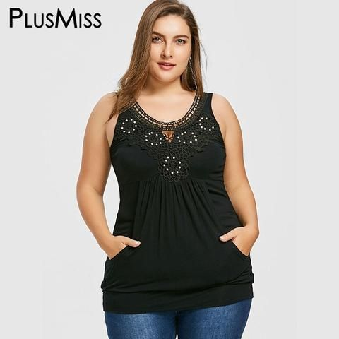 178f9fa77a022 PlusMiss Plus Size 5XL 4XL Sexy Floral Lace Crochet Boho Tank Top Kangaroo  Pocket Summer 2018 Tunic Tops Women Big Size Vests